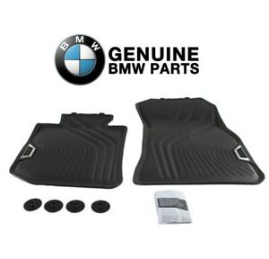 For BMW F30 320i 328d Sedan Set of 2 Rear Black All Weather Floor Mats Genuine