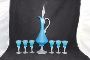 Mid-Century-Modern-Frosted-Blue-amp-White-Swirled-Stems-Decanter-w-6-Cordials