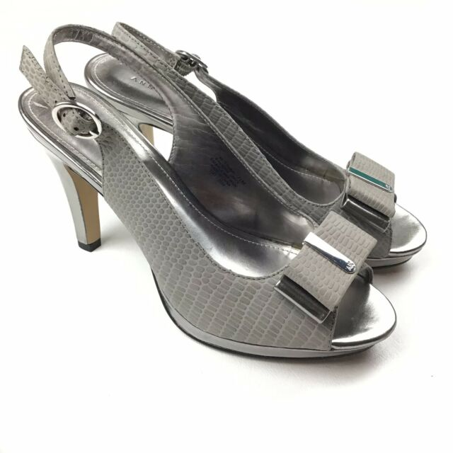 Anne Klein Peep Toe Buckle Slingback Metallic Silver Gray Women Heels Shoes 7.5M