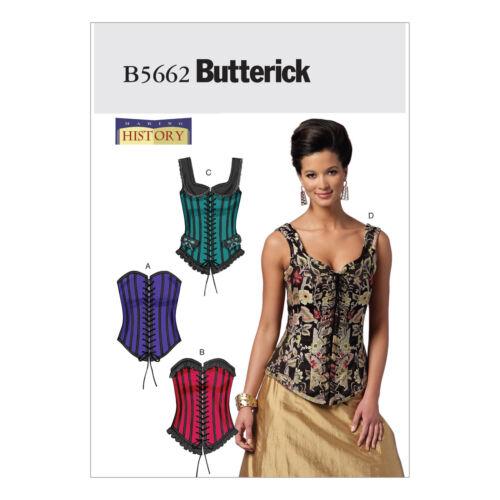Butterick 5662 patrón de costura para hacer deshuesado corsés con cordón Disfraz Histórico