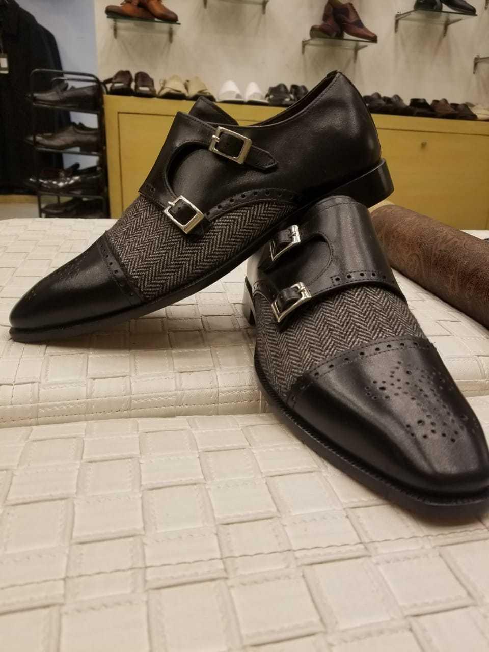 Homme Fait à la main Chaussures biCouleures moine sangles CUIR VEAU & LAINE   TISSU Bottes