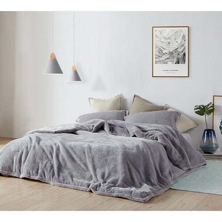 New Super Soft grau Plush Fleece 3 pcs King Queen Comforter Shams