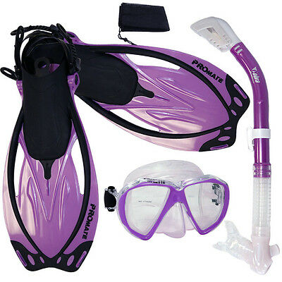 Promate Fish Eyes Mask Dry Snorkel Fins Snorkeling Diving Package Gear Gift Set