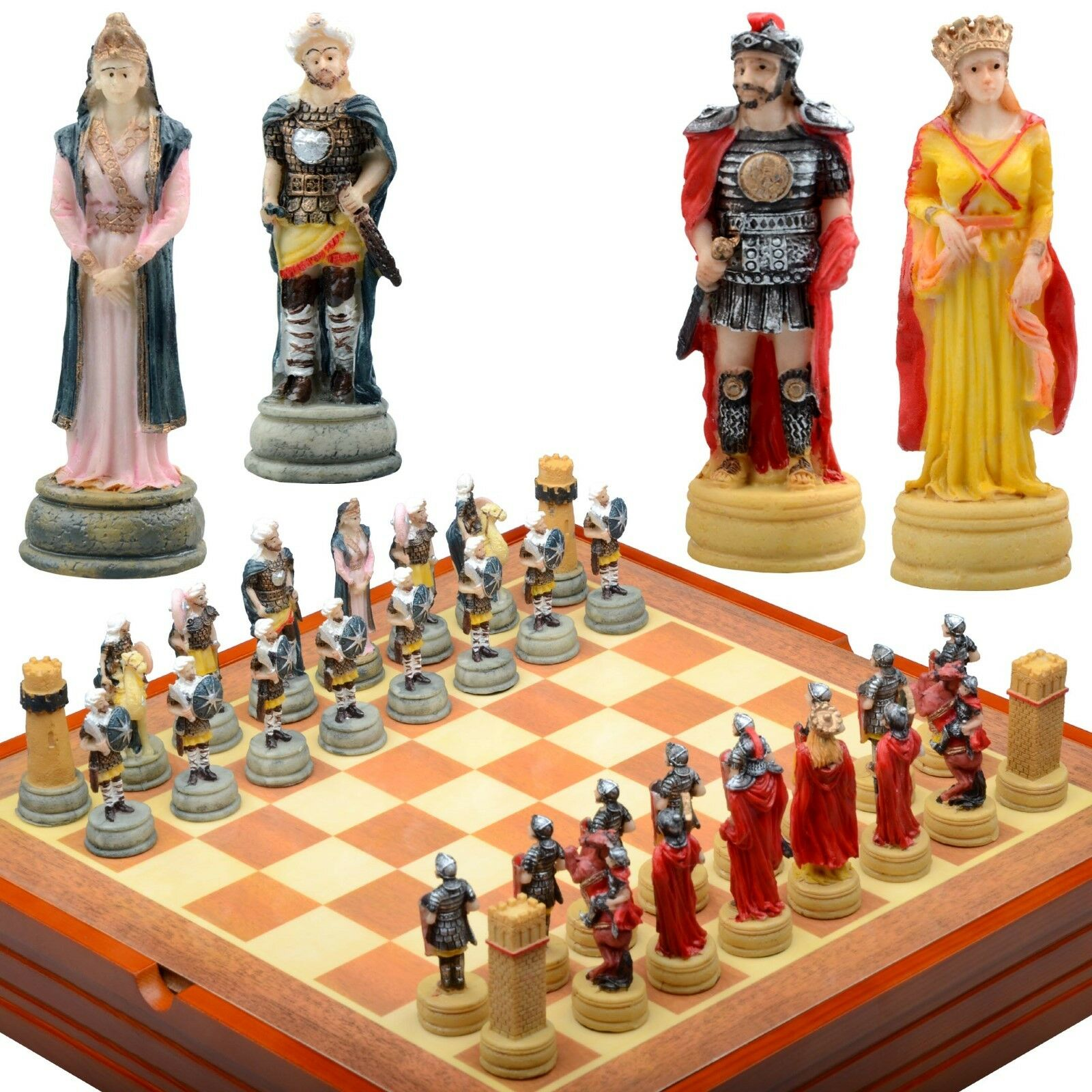 HISTORY ROME PERSIA CHESS SET. Resin Pieces Wood Board & Box