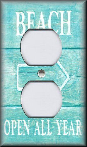 Metal Light Switch Plate Cover Beach Decor Coastal Decor Beach Sign Seafoam