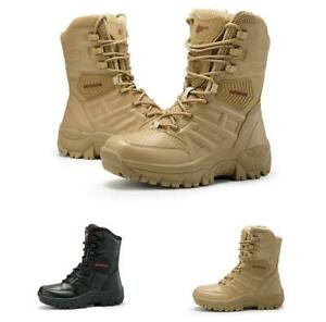 Men/'s Desert Boot Ankle Military Combat Tactical Army Work Comfort Leather Shoes