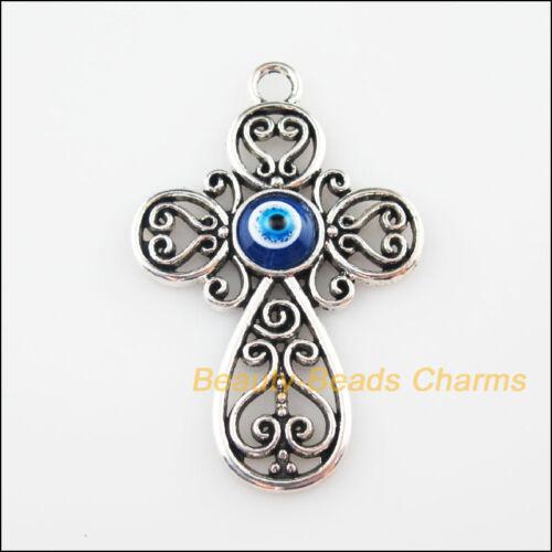 3Pcs Tibetan Silver Resin Eye Flower Cross Charms Pendants 31x47.5mm