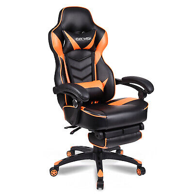 New Black Orange Topsky High Back Racing Style Pu Leather Executive Computer Gaming Office Chair Ergonomic Reclining Design With Lumbar Cushion Footrest And Headrest Leisure Sports Game Room Video Game Chairs Video