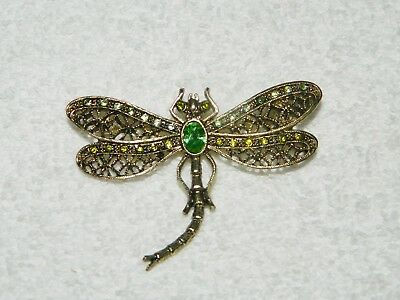 2 x 2 34 Gorgeous Dragonfly Brooch Very Nice! Rhinestones /& Faux Pearls