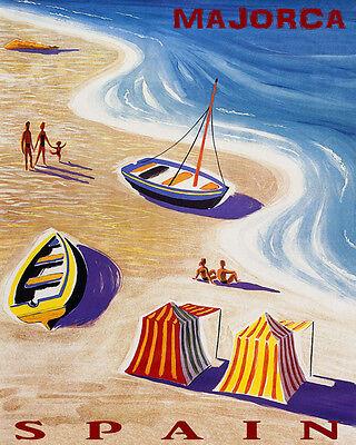 POSTER MALLORCA SPAIN BEACH FUN SAILBOAT SUMMER TRAVEL VINTAGE REPRO FREE S//H