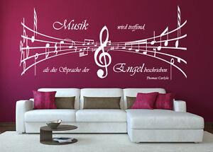 Das Bild Wird Geladen Wandtattoo Noten  3D Spruch Musik Sprache Engel Notenschluessel