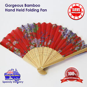 Folding-Fan-Bamboo-Hand-Held-Weather-Hot-Cool-Humid-Wind-Wooden-Colour-Pattern