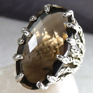 Gemstone-STATEMENT-SilverSari-Ring-US-8-11-Solid-925-Stg-Silver-SMOKY-QUARTZ
