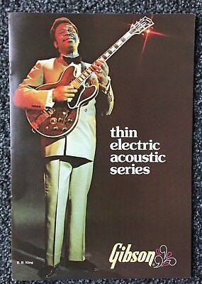 Behendig 1975 Original Gibson Thin Electric Acoustic Series- 8 Page Brochure-mint