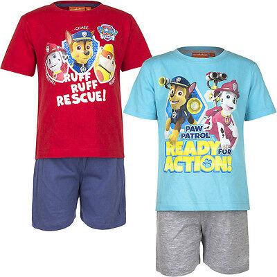 Pyjama Set Kurz Schlafanzug Mädchen Paw Patrol Rot Blau Türkis 98 104 110 116#34