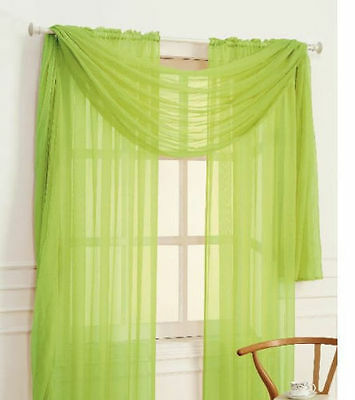 """2 SHEER 1 SCARF SET LIME GREEN VOILE SOLID PANEL WINDOW CURTAIN DRAPE 84"""""""