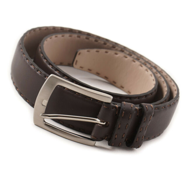 New $650 KITON Dark Brown Smooth Calf Leather Belt with Stitch Detail 36 W