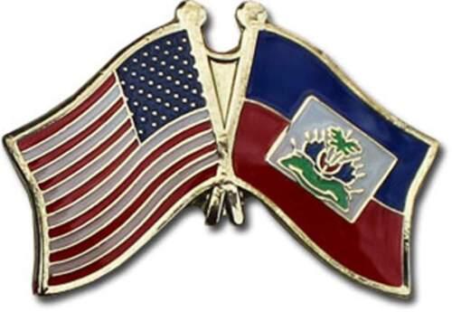 Wholesale Pack of 6 USA American Haiti Friendship Flag Bike Hat Cap lapel Pin