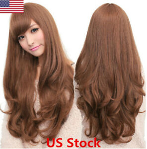 US New Fashion Women Brown Synthetic Long Curly Wavy Hair Party Cosplay Full Wig