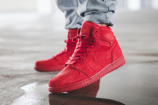 0e2b27fa2145 Nike Air Jordan 1 Retro High Triple Red Suede Men s Sz 12 Gym Shoes 332550  603 for sale online