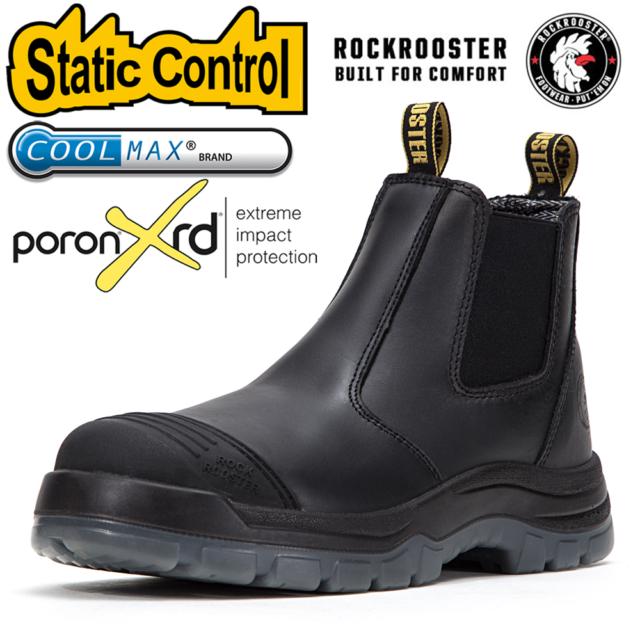 ROCKROOSTER Men's Work Boots Steel toe Antistatic Black leather Waterproof Shoes