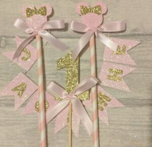 Personalised-crown-bunting-number-birthday-cake-topper-1st-first-minnie-ANY-AGE