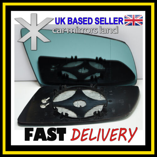 Right Driver Side Wing Mirror Glass HEATED ASPHERIC  BLUE BMW 5 E60 E61 03-10