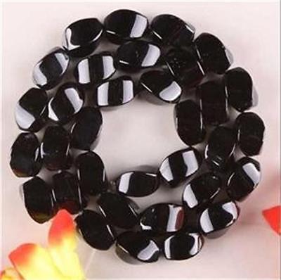 8x16mm RARE Black Agate Onyx Gems Loose Beads 15inch ##QF329