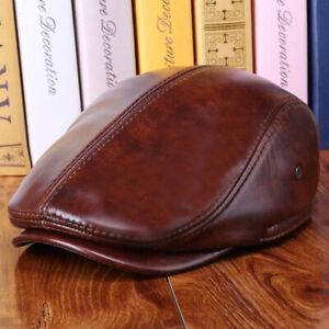Men-Real-Genuine-Leather-Cowhide-Warm-Beret-Dad-Hats-Fashion-Ivy-Cap-Earlap-Cap