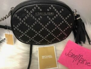 0ea9531f935b Image is loading Michael-Kors-Ginny-Grommet-Studded-Small-Black-Leather-