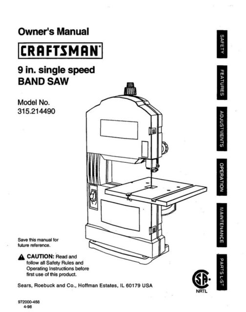 Craftsman 315.214490 Band Saw Owners Instruction Manual