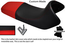 RED & BLACK CUSTOM FITS BMW F 650 FUNDURO 93-00 REAL DUAL LEATHER SEAT COVER