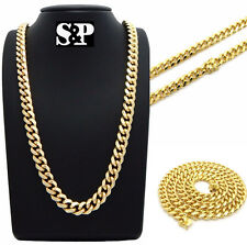 """Hip Hop Rapper's 14K Gold Plated 10mm 26"""" Box Lock Miami Cuban Chain Necklace"""