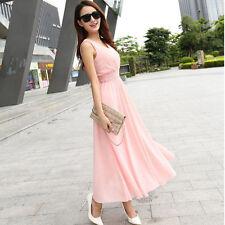 Summer Women Dress Long  Dress Bohemian Slim Sleeveless Beach Dress Deep Pink L