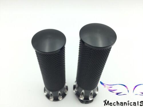 """CNC Edge Cut Handlebar Hand Grips For Harley Bobber Dyna Sportster 25mm NEW 1/"""""""