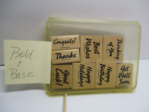 Stampin-Up-Bold-amp-Basic-Greetings-8-Pc-Stamp-Set-wood-mounted-Gently-Used