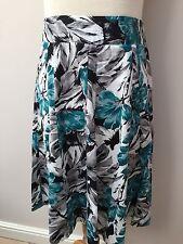 Epilogue - Turquoise Black & White Flared Skirt - Size 12 ** NEW **