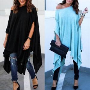 Chic-Ladies-Women-Plus-Size-Casual-Blouse-Irregular-Shirt-Batwing-Sleeve-Tops