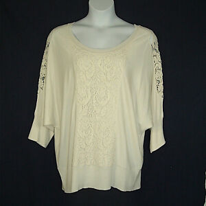 Lane-Bryant-Ivory-Lace-Trimmed-Rayon-Blend-Knit-Top-Plus-Size-26-28-Bust-54-034-60-034