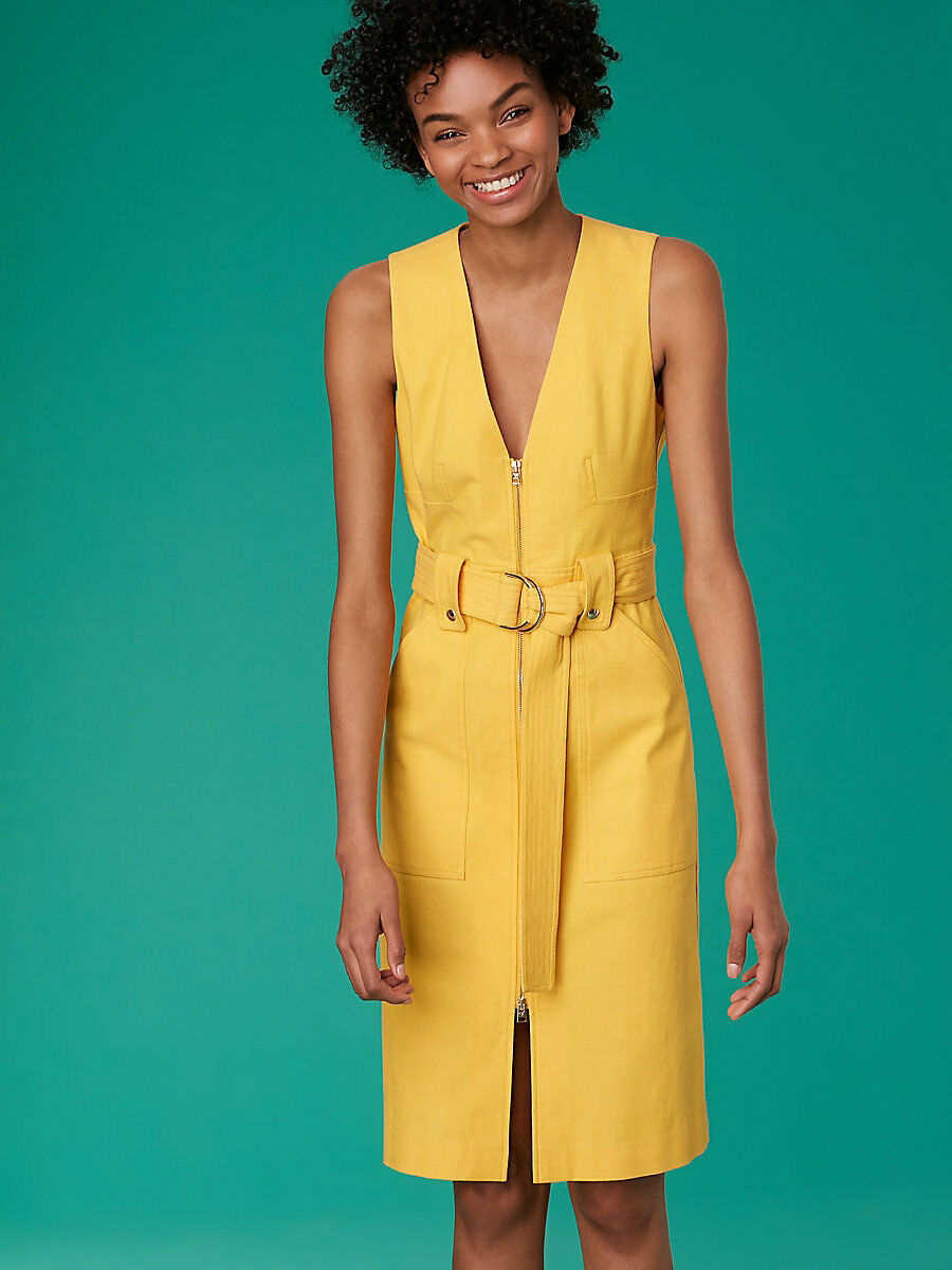 NEW Diane von Furstenberg Sleeveless A-Line Zip Front Denim Dress in Yellow - 2