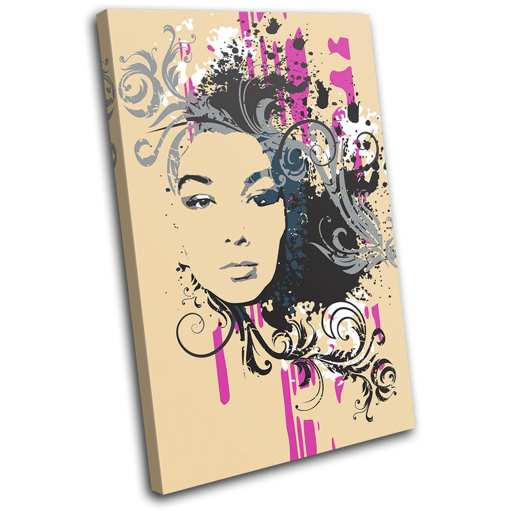 Abstract Girl Design Fashion SINGLE SINGLE SINGLE TELA parete arte foto stampa c00d5f