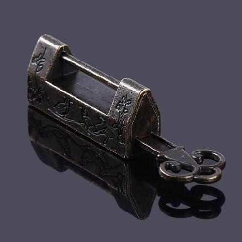 Antique Wooden Box Vintage Luggage Metal Latch Hasp Lock w// Key Hardware T3