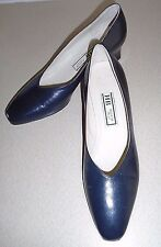 Vintage HB Italia Azul Marino Oscuro Tribunal Zapatos Talla Uk 6.5 ~ US 8.5
