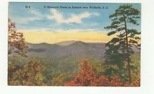 Vintage Linen Color Postcard Mountain Scene in Autumn near Walhalla, S.C.