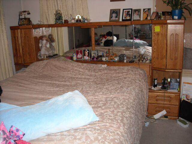 Prepac Monterey CherryKing Wood Platform Storage Bed 3 Piece Bedroom Set