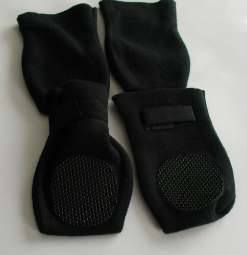 non-skid soles protect from cold Soft artic fleece dog boots hot pavement ice