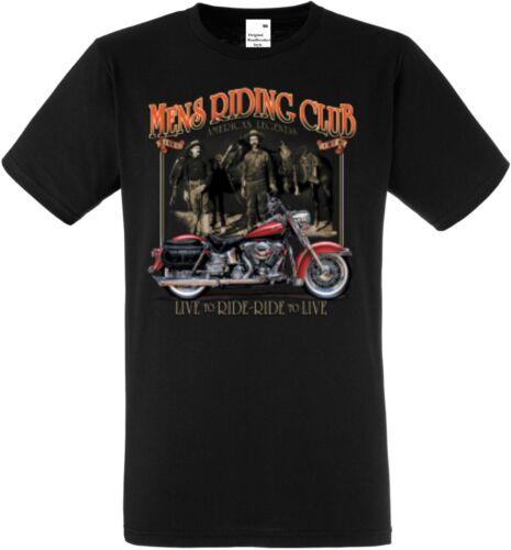 T shirt en noir avec un motard- /& Old schoolmotiv Modèle Mens riding Chopper
