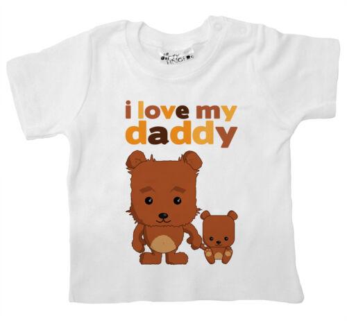"""T-shirt Bébé doigts sales /""""I love my daddy/"""" papa ours en peluche cadeau fête pères"""