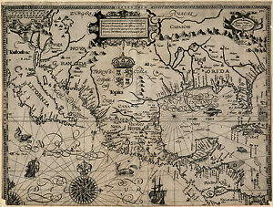"1600 Map, MEXICO, CALIFORNIA, FLORIDA, antique, AMERICA History, 20""x16"" Print"