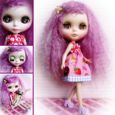 ♥ Blythe Custom Original Cute Doll Ooak Rerooted Mohair Reroot Muñeca Preciosa ♥ Alleviare Il Calore E La Sete.
